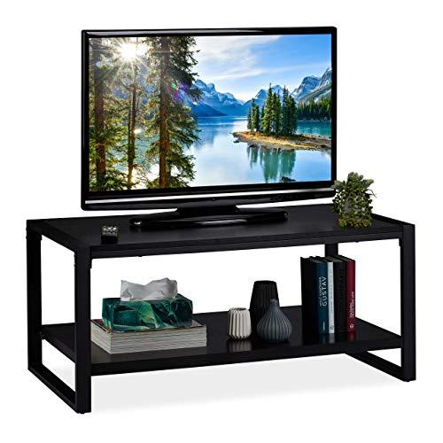 Relaxdays Mobile, Tavolino con 2 Ripiani, Mobiletto Porta TV per Salotto, H x L x P: 45 x 100 x 55 cm, Nero