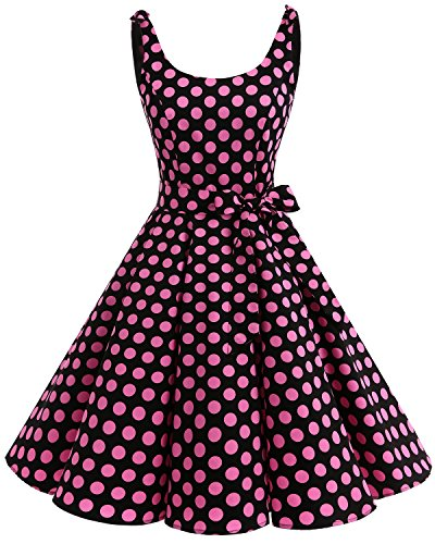 Bbonlinedress 1950er Vintage Polka Dots Pinup Retro Rockabilly Kleid Cocktailkleider Black Pink Big Dot XS