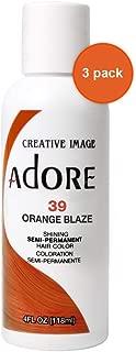 Adore Semi-Permanent Haircolor #039 Orange Blaze 4 Ounce (118ml) (3 Pack)