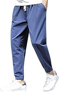FRAUIT Plus Size Oversize Pantaloni Lino Uomo Slim Fit Coulisse Pantalone Tuta Uomini Cotone Leggero Taglie Forti Pantalon...
