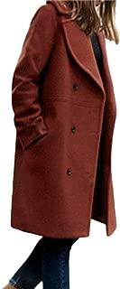 Womens Long Woolen Coat, Sunyastor Fashion Double Breasted Lapel Walker Overcoat Parka Jacket Thick Warm Cardigan