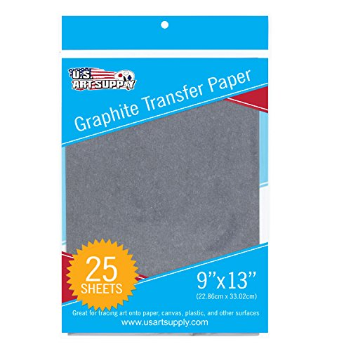 U.S. Art Supply Graphite Carbon Transfer Paper 9' x 13' - 25 Sheets - Black Tracing Paper for All Art Surfaces