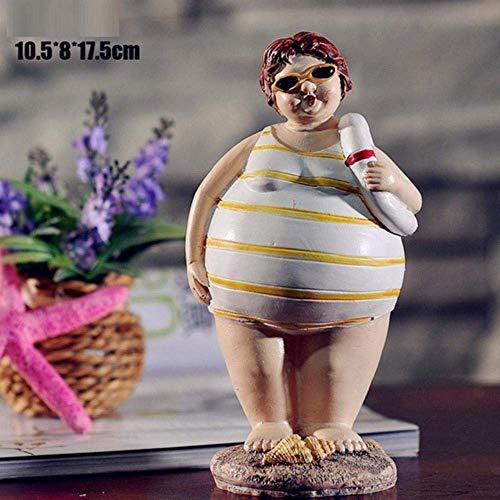 Mnjin Deko-Figur Bikini-Figur, mediterranes Marineblau, dekoratives Kunstharz, ArtCraft, Wohnaccessoires, Souvenir, Geschenk L3198, Schwarz, weiß