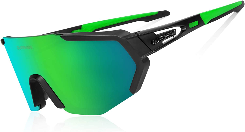 Queshark Gafas De Sol Polarizadas para Ciclismo con 3 or 5 Lentes Intercambiables, Protección UVA & UVB, Bicicleta de Carretera MTB Gafas de Ciclismo,Certificación CE