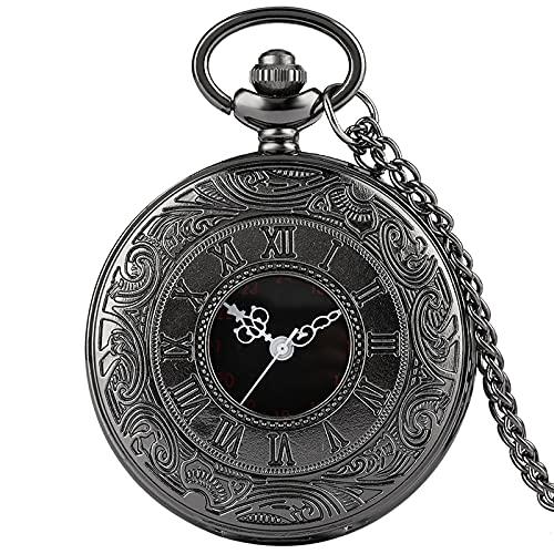 Reloj De Bolsillo De Cuarzo - Collar Con Número Romano De Bronce Vintage Reloj De Bolsillo De Cuarzo Colgante De Cadena Cumpleaños Joyería De Navidad Regalos Para Hombres Mujeres Amigos, Negro