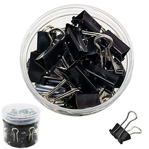 DDSTG Foldback-Klammern 15mm Schwarze Büroklammern - 60 Stück