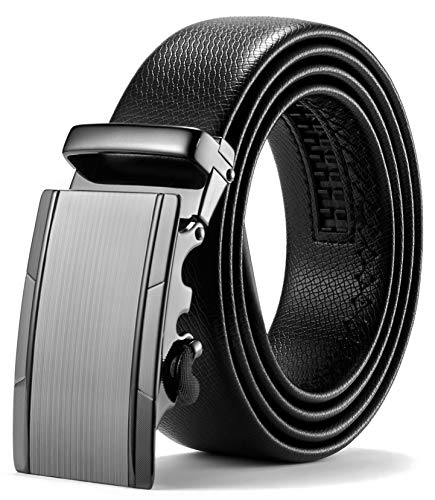ITIEZY Herren Gürtel Ratsche Automatik Gürtel für Männer 35mm Breit Ledergürtel, Schwarz 118, Länge: Bis zu 49,21 Inches (125cm)