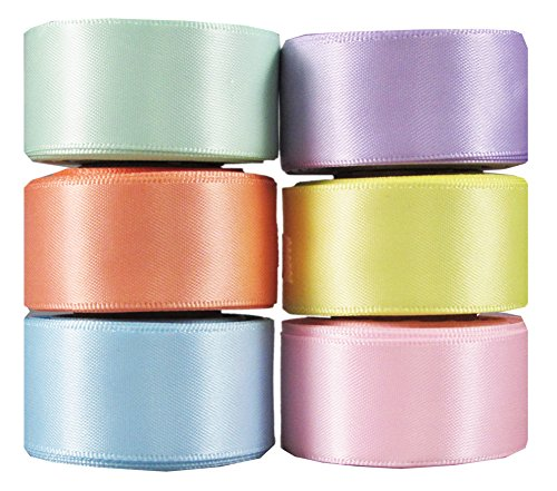 Q-YO Ribbon for Crafts, Grosgrain/Satin Ribbon Combo for Gift Package Wrapping, Hair Bow Clips & Accessories Making, Sewing, Wedding Decor (6x5yd 7/8' Double Face Satin Ribbon Combo-Pastel)