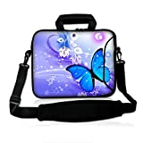 ICOLOR Colorfulbags Universal Blue Butterfly 13 Inch Laptop Netbook Shoulder Bag Case Messenger Cover with Extra Pocket for iPad and Most 13' 13.1' 13.3' 12.5' Netbook Tablets