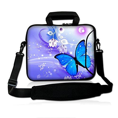 "Blue Butterfly 14"" 14.1"" 14.2"" 15"" 15.4"" 15.6 Inch Laptop Notebook Computer Netbook Soft Shoulder Bag Dual Zipped Neoprene Messenger Bag Case Cover Pouch Holder Pocket - Fshb15-11"