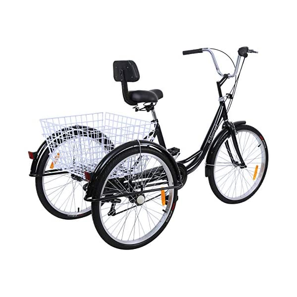 Comfort Bikes MuGuang Adult Tricycles 24 Inches 7 Speed 3 Wheel Upgraded Fender Adult Trike Bike Cycling Pedal with Shopping Basket (Black)