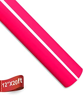 Heat Transfer Vinyl Roll 12 Inches by 20 Feet Easy to Weed Iron On HTV Vinyl for T-Shirts (Neon Pink)