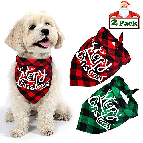 Yodofol Dog Christmas Bandana, Buffalo Plaid Pet Bandana Reversible Triangle Merry Christmas Bibs Accessories for Dogs Cats Pets (Merry Christmas (Red + Green))