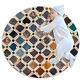 PLOKIJ Alfombra lavable circular alfombra de cuarto de niños para cocina, dormitorio y sala de estar, decoración de azulejos Alhambra palacio España