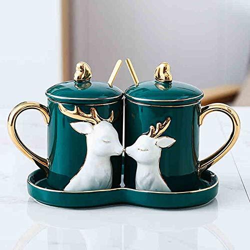 GNSDA Paar Kaffeetasse - Keramik - Doppelwandige Wasser-Kaffeetasse für Zuhause, Büro, Außenarbeiten Ideal für Eisgetränke und Heißgetränke - Schwarz