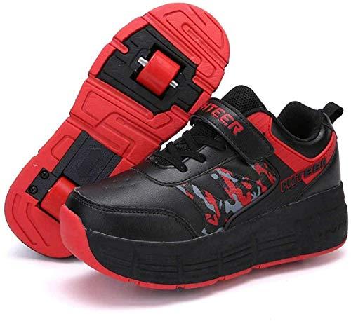XRDSHY Zapatillas Deportivas De Ruedas Zapatillas De Deporte De Skate Zapatos De Doble Rueda Zapatos De Rodillo Zapatillas De Deporte Zapatillas De Patinaje con Botón De Empuje Ajustable,Noir-32 EU
