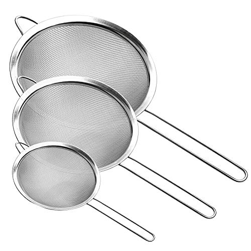"""Fine Mesh Strainer, Stainless Steel Fine Mesh Sieve, Set of 3 Small Strainers Fine Mesh for Kitchen, Silver Colander Sieve Sifter with Long Handle, 3.2"""", 5.3"""", 7.8"""""""