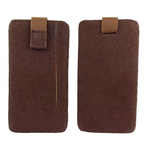 handy-point 5,0'' Filztasche Tasche Hülle aus Filz für Samsung, iPhone, Sony, Lenovo Moto, Huawei, Alcatel, Gigaset, Medion, Neffos, Geräte mit Max.14,2x7,3xx1cm (Braun)