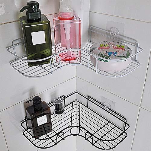 Estantes de almacenamiento de hierro, estante de pared sin perforaciones, estante de baño, organizador de baño, accesorios de cocina forjados (color 03)