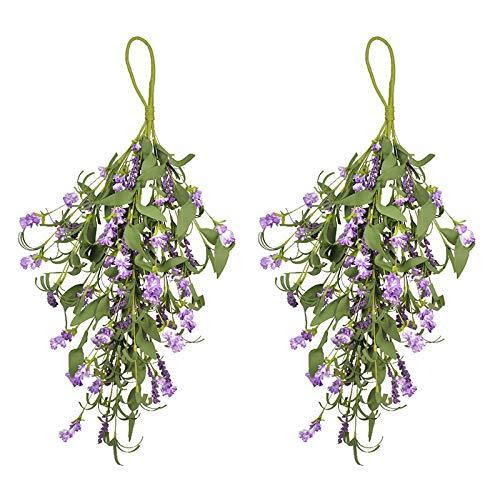 SMLJFO Guirnalda de flores artificiales para puerta frontal, 2 unidades, guirnalda de flores falsas para decoración del hogar, color morado