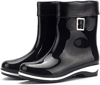 Fancyww Winter Women's Short Rain Boots Waterproof Slip On Ankel Chelsea Booties