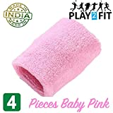 Play2Fit 4 Wristband (2 Pair) Soft Sweatband for All Sport, Stretchable, Sweat Absorbent Supports Wrist Made in India (Baby Pink, 5 Inch) gps wristbands Dec, 2020