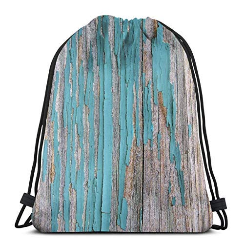 XCNGG Kordeltasche Kordeltasche Tragbare Tasche Sporttasche Einkaufstasche Einkaufstasche Bundle Backpack Outdoor Shopping Knapsack Shabby Rustic Weathered Wood Turquoise Rope-Pulling Bag Sports Bag S