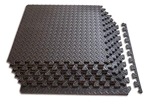 Tapis de Protection de Sol 60 x 60 cm, Tapis de Fitness dalles emboîtables en mousse EVA avec bordures, Grand Tapis de Gymnastique Tapis d