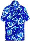 LA LEELA Casual Hawaiana Camisa para Hombre Señores Manga Corta Bolsillo Delantero Surf Palmeras Caballeros Playa Aloha 4XL-(in cms):162-167 Azul_W8