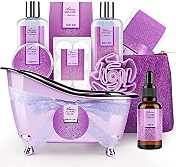 ArioseMonde Lavender Scent Bath Spa Basket Gift Set for Women & Men