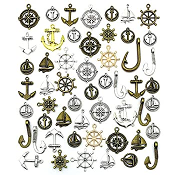Nautical Anchor Rudder Helm Compass Charms JIALEEY 100 Grams Mixed Ship Anchor Wheel Pendants Beads Charms for DIY Necklace Bracelet Jewelry Making Accessories