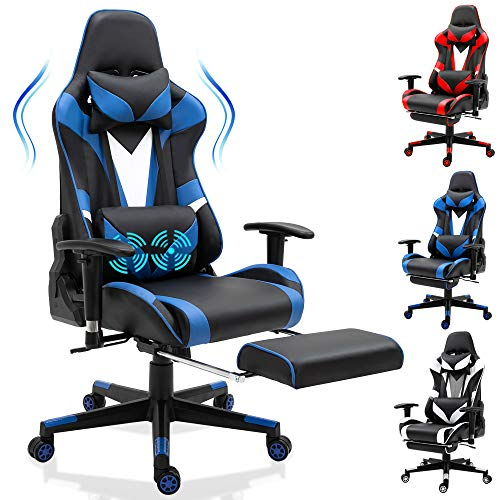 Ergonomic Gaming Chair Racing Recliner-High Back Office Chair Desk Chair Racing Executive Adjustable Swivel Leather Computer Chair with Retractable Arms and Footrest,Blue