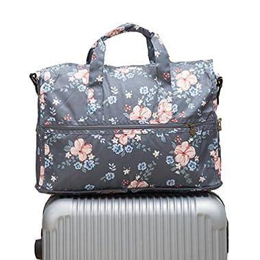 Ac.y.c Travel Duffel Bag for Women Foldable Carry On Express Weekender Organiser (Dark Grey Flowers)