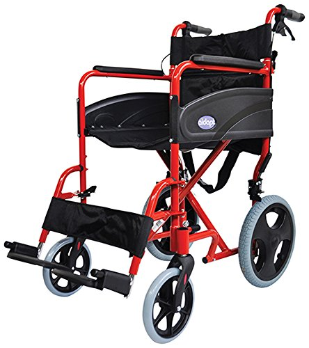 Aidapt Red Compact Transport Aluminium Wheelchair (Eligible for VAT relief in the UK)