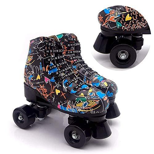 MLyzhe Schwarz Graffiti Damen Rollschuhe Doppelreihe High-Top Leder Zehenschutzkappe PU-Bremse Für Erwachsene, Jungen, Mädchen,Schwarz,34