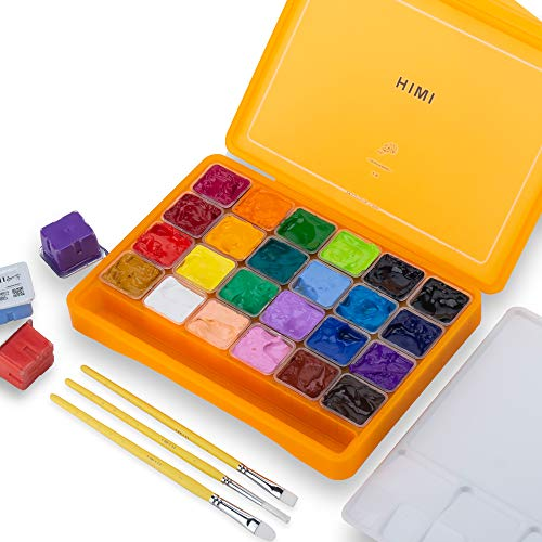 HIMI Gouache Paint Set, 24 Colors x 30ml Unique Jelly Cup Design with 3 Paint Brushes in a Carrying Case Perfect for Artists, Students, Gouache Opaque Watercolor Painting (Yellow)