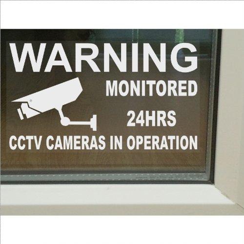 Lot de 6 grands autocollants en vinyle pour fenêtre de 150 x 87 mm avec inscription « Monitored by CCTV Video Recording in Operation »