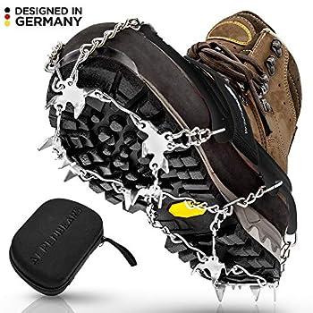 Crampons premium pour chaussures de montagne avec 19 pointes en acier inoxydable - Crampons antidérapants professionnels en acier pour neige et glace Crampons pour chaussures d?hiver