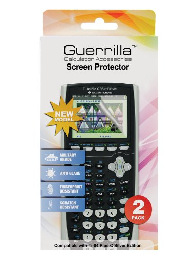 Guerrilla Military Grade Screen Protector 2- PackFor Texas Instruments TI 84 Plus C Silver Edition Color Graphing Calculator