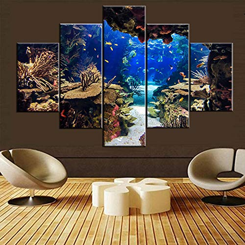 Blue Canvas Painting Coral Reef and Tropical Fish Wall Art Contemporary Pictures House Decor Multi Panel Undersea Plants Artwork Framed Ready to Hang in Living Room Posters and Prints(60