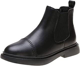 Women's Chelsea Boots Retro Slip-On Chunky Heel Casual Waterproof Ankle Boots Pointed Toe Flat Boots