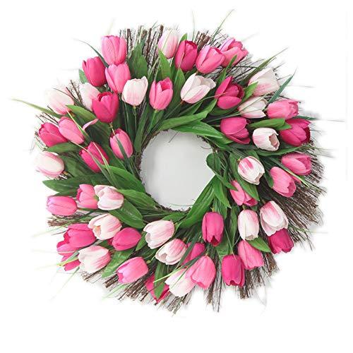 OMKMNOE Artificial Flowers, Tulip Stunning Spring Door Wreath Flower Garland for Front Door Mother's Day Wreath Inch Rouge Tulip,Pink