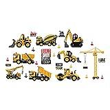 ufengke Wandtattoo Kinderzimmer Baufahrzeug Wandsticker Traktor Bagger Gelb Selbstklebend für Babyzimmer Wohnzimmer Schlafzimmer Baby Junge