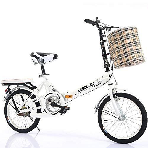 LSBYZYT Bicicleta Plegable, Bicicleta Ultraligera de 20 Pulgadas, Bicicleta portátil para Adultos-Blanco_Incluye Cesta para Bicicletas