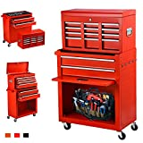 June Win 8-Drawer Rolling Tool Chest,Big Tool Storage Removable,Tool Cabinet with Lockable Drawers, Mobile Toolbox for Workshop and Mechanics Garage (Red)
