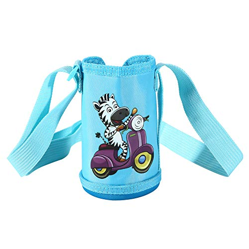 OYATON Water Bottle Holder for Kids, 12 oz, 14 oz, Insulated Bottle Carrier with Zipper and Shoulder Strap, Keep Liquid Cold or Hot (Blue)