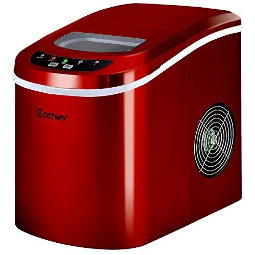 COSTWAY Eiswürfelmaschine Ice Maker, Eismaschine, Eiswürfelbereiter inkl. Eiswürfelschaufel / 9 Eiswürfel in 6-13min / 2 Eiswürfelgrößen / 12kg in 24 Std. / 2,2L Wassertank / 25x36x33cm (Rot)