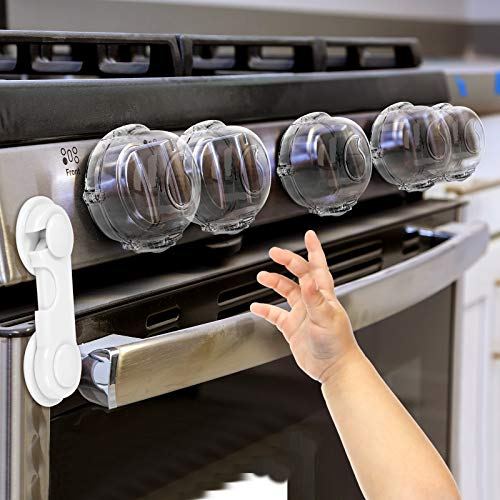 Stove Knob Covers for Child Safety (5 + 1 Pack) Double-Key Design and Upgraded Universal Size Gas Knob Covers Clear View Childproof Oven Knob Covers for Kids, Babies