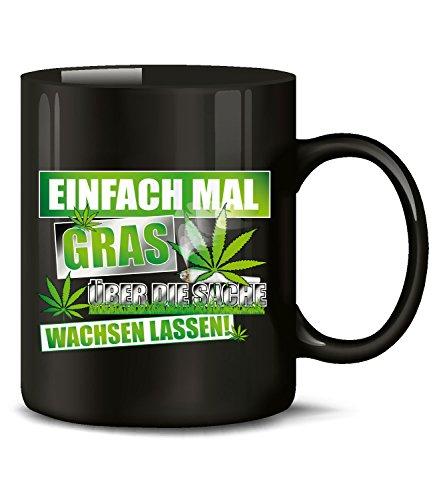 Golebros Einfach mal 4895 Tasse Becher Kaffeetasse Kaffeebecher mit Spruch Gras Cannabis Drogen Sprüche Geschenk Artikel Marihuana Drug Dope Kiffer