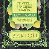 Barton Infusión Ecológica de Té Verde, Jengibre y Limón - 1 Paquete de 30 gr (15 x 2 g)